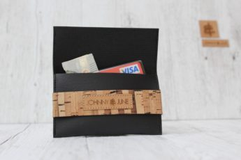Portemonnaie Kork schwarz gestreift