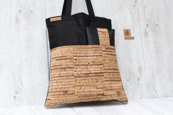 Shopper gestreift schwarz sand