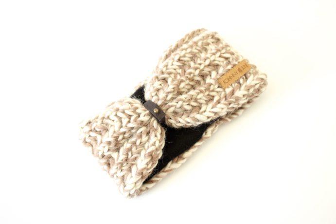 Stirnband taupe weiß