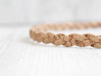 Haarband geflochten Kork sand