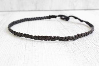 Haarband geflochten Leder schwarz