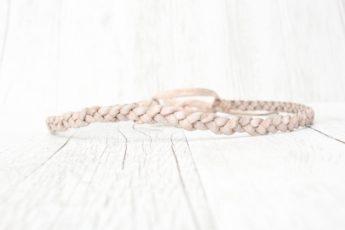 Haarband geflochten Leder weiß