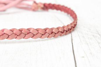 Haarband geflochten Leder rosa