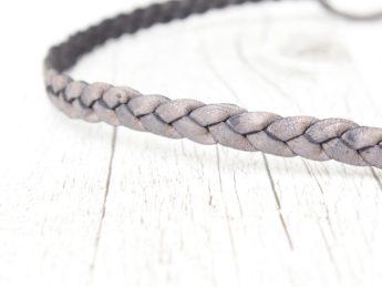 Haarband geflochten Leder silber