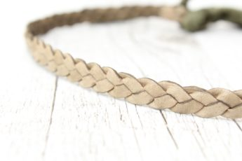 Haarband geflochten Leder grün
