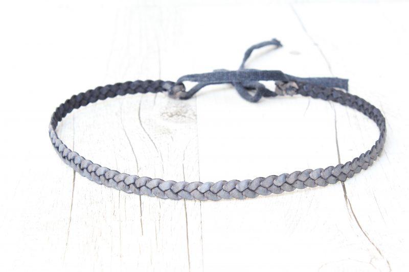 Haarband geflochten Leder blau