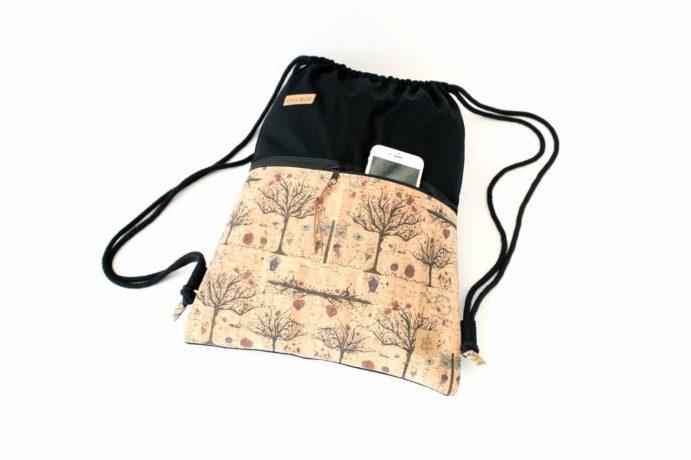Turnbeutel aus Baumwolle mit Zip Reißverschluss Tasche aussen aus Kork leder