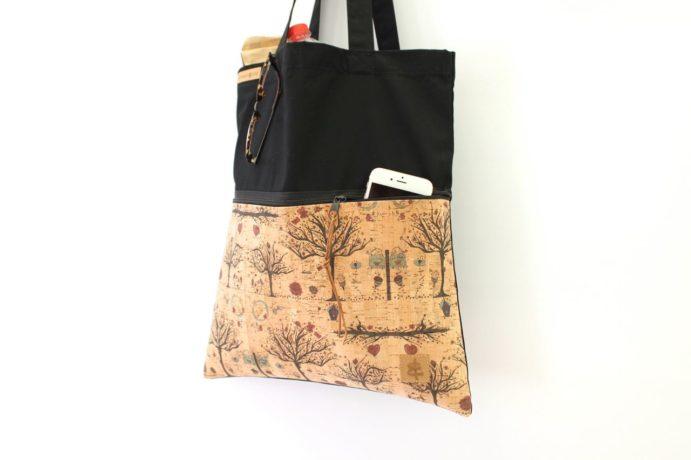 Shopper ZIP schwarz sand Bäume