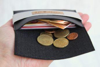 Geldbörse Kork schwarz silber