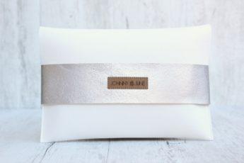 Clutch Kork weiß silber