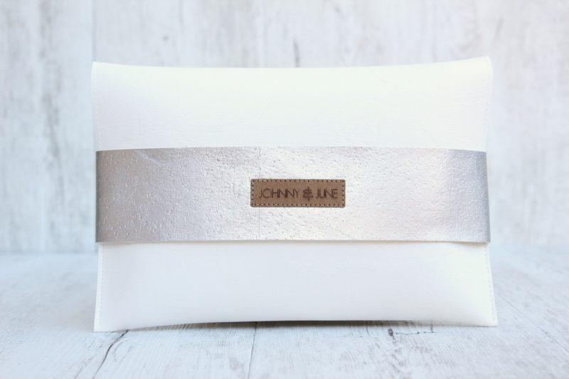 Clutch Kork weiß & silber
