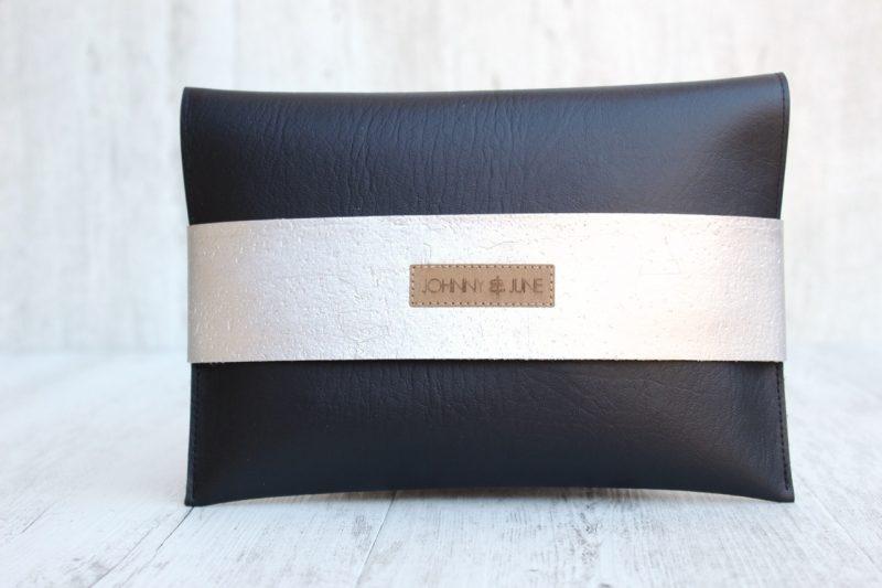 Clutch Kork schwarz silber