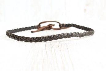 Haarband geflochten Leder braun