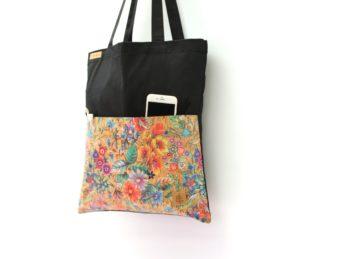 Shopper BAGS schwarz KORK bunte Blumen