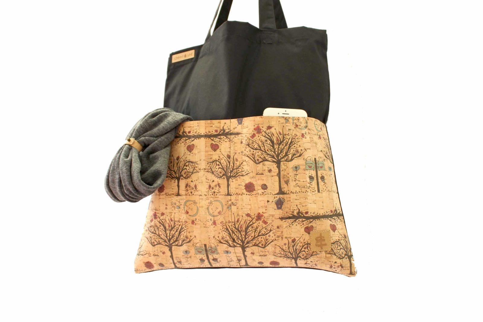 Shopper BAGs schwarz KORK Bäume