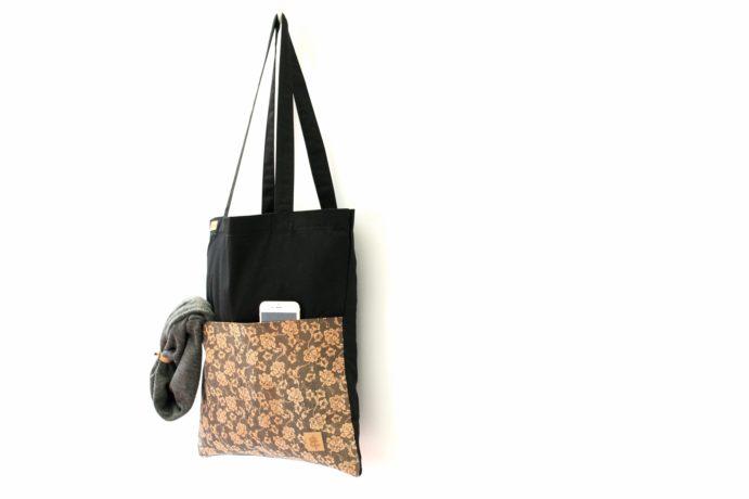 Shopper BAGs schwarz KORK Blumen