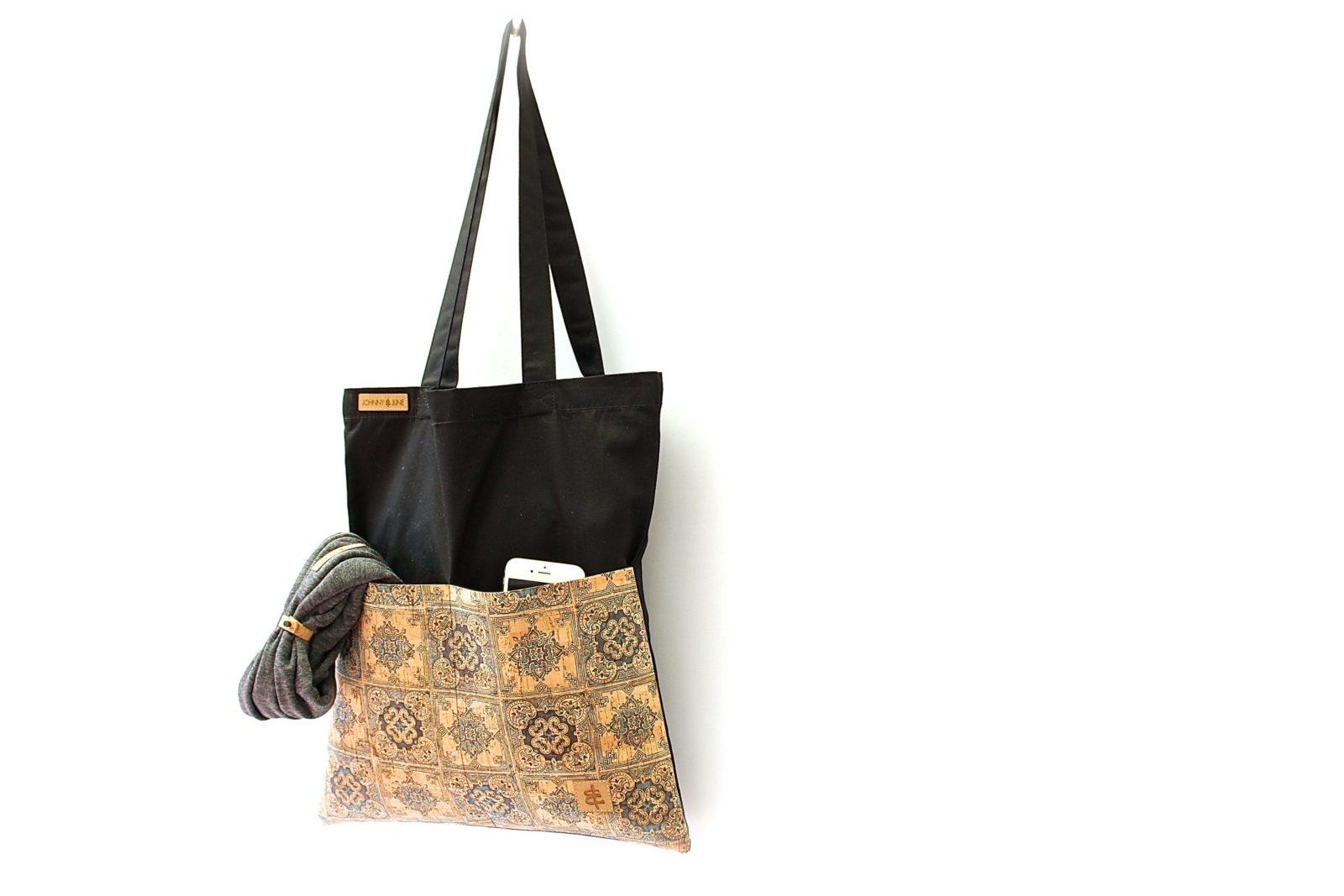 Shopper BAGs schwarz KORK kariert