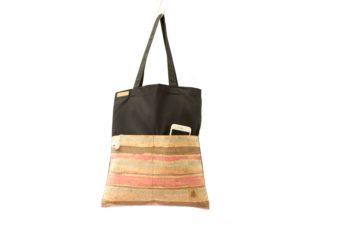 Shopper BAGs schwarz KORK bunt gestreift