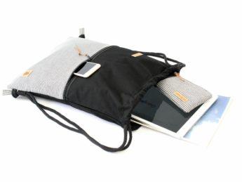 Rucksack schwarz weiß gestreift