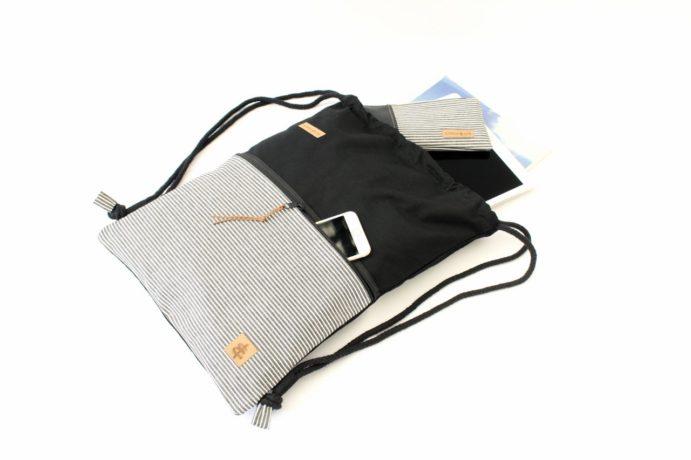 Turnbeutel aus Baumwolle mit Zip Reißverschluss Tasche aussen aus Jeans