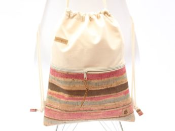 Rucksack Kork sand colored stripes