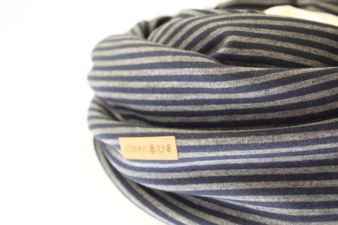 Loopschal blau grau gestreift
