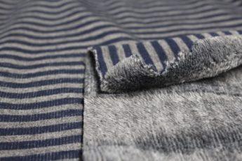 Sweatjersey gestreift grau blau