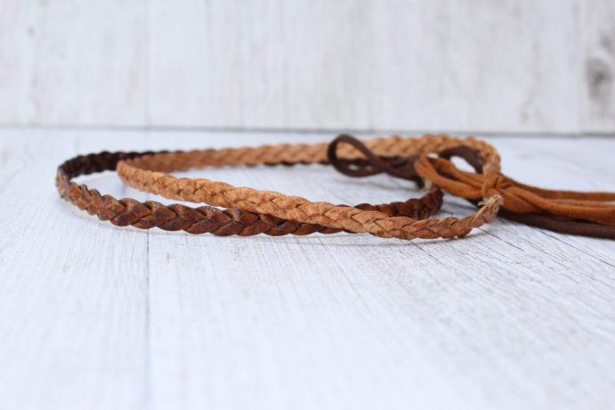Haarband geflochten Leder rostbraun