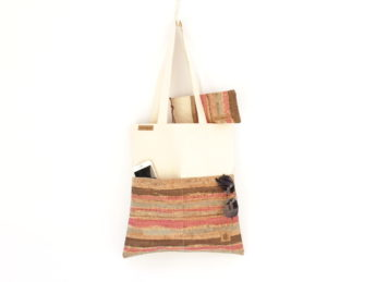 Jutebeutel BAGs sand colored stripes