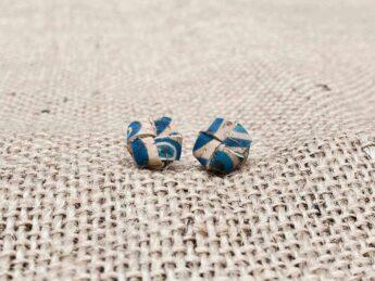 Ohrringe Leder blau natur